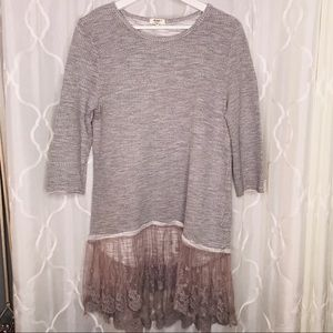 Dylan Sweater Tunic Boho Festival Gray Lace Medium
